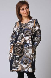"""Платье """"СКС"""" 252 (Синий-крем-черный дизайн)"""